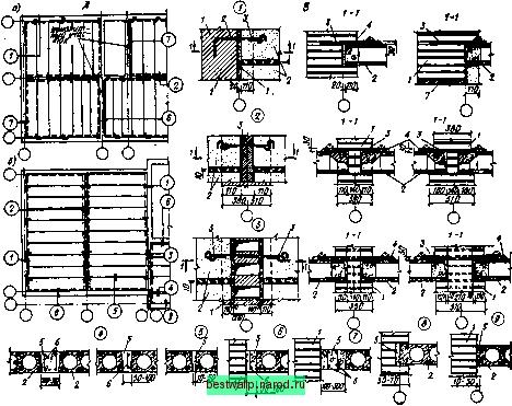 Рис.9.1. Конструктивные решения перекрытий из многопустотных настилов в зданиях с кирпичными стенами: А...
